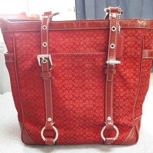 Coach hot red tote pures.